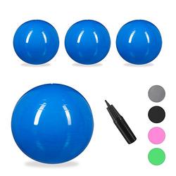 4 x Gymnastikball 75 cm, Yogaball groß Ball Schwangerschaft blau Sitzball Büro