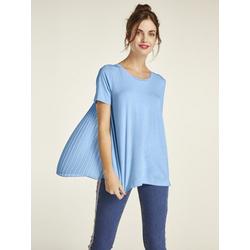 Shirt mit Pliseeeinsatz blau 46