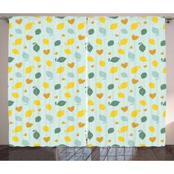 Gardine Schlafzimmer Kräuselband Vorhang mit Schlaufen und Haken, Abakuhaus, Zitronen Gekritzeltes Zitronen-Entwurf 280 cm x 245 cm