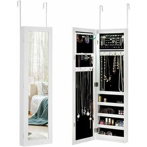 Schmuckschrank mit LED Leuchten Schmuckregal Spiegelschrank Tür & Wandmontage