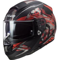 LS2 FF397 Vector Evo Stencil Helm, schwarz-rot, Größe S