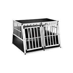 tectake Tiertransportbox Hundetransportbox doppel mit schräger Rückwand