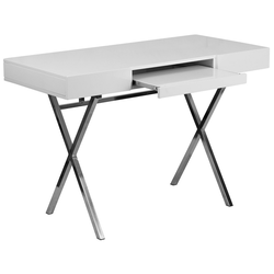 44.25''W X 21.625''D Computer Desk with Keyboard Tray and Drawers - White Laminate Top/Chrome Frame - Riverstone Furniture Collection