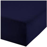 REDBEST Spannbettlaken, REDBEST, Uni Elasthan-Jersey-Stretch blau 180-200 cm x 200 cm
