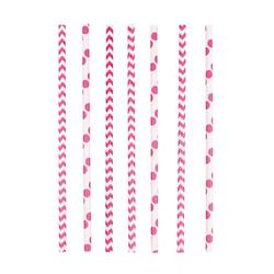 Amscan Einweggeschirr-Set Pinke Party Strohhalme aus Papier 24 Stück, Papier