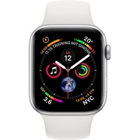 Apple Watch Series 4 (GPS +  Cellular) 40mm Aluminiumgehäuse silber mit Sportarmband weiß