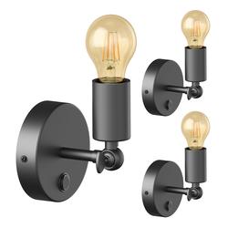 Vintage E27 Strahler FETRO mit Schalter, schwarz, schwenkbar, inkl. E27 Lampe Vintage gold (extra-warmweiß 4W=42W 480lm), 3 Stk.