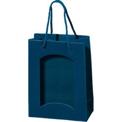 Papiertüte offene Welle Blau mit Folienfenster für Bocksbeutel oder 3 Piccoloflaschen