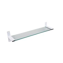 SOSmart24 Wandregal Badablage mit 50 cm Glasplatte und Halter Weiß Matt - Glasregal für die Wand