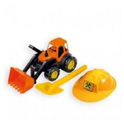 Mochtoys Spielzeug-Bagger Spielzeug Set 10593 Bagger, orange mit Helm und Sandschaufel in gelb