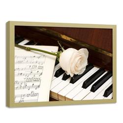 HomeLiving Bild mit Rahmen weiße Rose auf dem Klavier, Motiv siehe Bild/Beschreibung