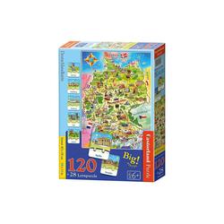 Castorland Puzzle Lernpuzzle 120 + 28 Teile Deutschlandkarte, Puzzleteile