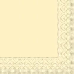 Mank Tissue Basics Servietten, 33 x 33  cm, 1/4 Falz, 3-lagig, 1 Karton = 6 x 100 Stück = 600 Servietten, creme