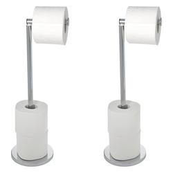 WENKO Stand Toilettenpapierhalter 2 in 1 Glänzend, 2er Set, Edelstahl
