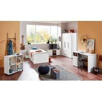 arthur berndt Jugendzimmer-Set, (5-St., Bett + 3 trg. Schrank + Schreibtisch + Regalwagen + Lowboard), mit Melamin-Oberfläche weiß