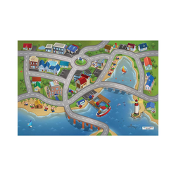Kinderteppich Spielteppich Stadthafen, 80x120 cm, ACHOKA® blau