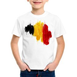 style3 Print-Shirt Kinder T-Shirt Flagge Belgien Fußball Sport Belgium WM EM Fahne weiß 140