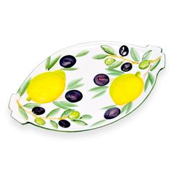 Lashuma Servierplatte Zitrone Olive, Keramik, Ovale Wurstplatte, Servierteller 25x15 cm