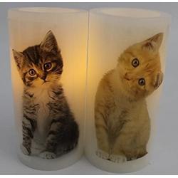 JOKA international LED-Kerze LED Kerze mit Katzenmotiv 2er Set 15787