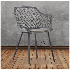 KAWOLA Esszimmerstuhl EMILIE, Stuhl Kunststoff mit Kissen versch. Farben grau