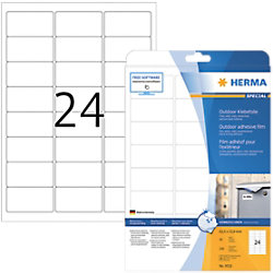 HERMA Outdoor Klebefolie 9532 Weiß DIN A4 63,5 x 33,9 mm 10 Blatt à 24 Etiketten