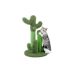muchen Kratzbaum Katzenkratzbaum Kaktus-Kratzbaum Mit Ballspielzeug für Katzen Kratzpfosten Kratzstamm Sisal-Seil Kletterbaum grün 32 cm
