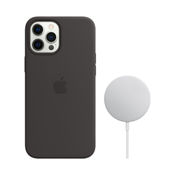 Apple iPhone 12 Pro Max Silicone Back Cover mit MagSafe Schwarz + kabellosem 15-W-MagSafe-Ladegerät