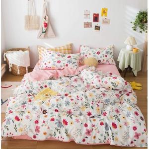 GETIYA Cartoon Bettwäsche 100x135 Mädchen Babybettwäsche Rosa Kinder Bettwäsche 100% Baumwolle Wendebettwäsche Buntes Blumen Bettwaesche Mädchen Deckenbezugmit Reißverschluss und Kissenbezug 40x60