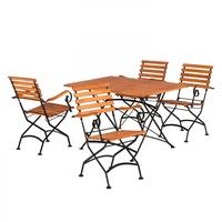 MERXX Schlossgarten II Set 5-tlg.Tisch 140 x 90 cm braun klappbar