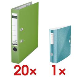 20x Ordner »1015« inkl. Ordner »180° Active WOW 1106« grün, Leitz, 5.2x31.8x28.5 cm