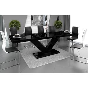 designimpex Esstisch Design Esstisch Tisch HE-999 Schwarz Hochglanz ausziehbar 160 bis 256 cm schwarz