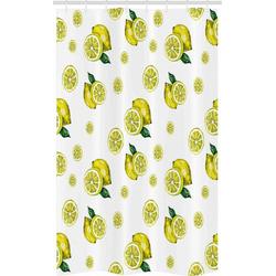 Abakuhaus Duschvorhang Badezimmer Deko Set aus Stoff mit Haken Breite 120 cm, Höhe 180 cm, Küche Zitronenscheiben Blätter