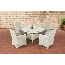 CLP Gartenmöbelset Pinella 5mm, 4 Gartenstühle mit Polsterauflagen weiß