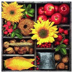Linoows Papierserviette 20 Servietten, Herbstkomposition, Blumen, Früchte, Motiv Herbstkomposition, Blumen, Früchte und Nüsse