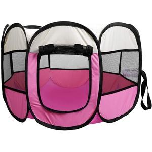 Coolty Faltbar Haustier Zelt, Tragbarer Welpenlaufstall Tierlaufstall für Hunde Katzen Kleintiere, 91 * 91 * 58cm (Rosa)