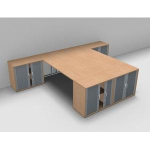 Doppelarbeitsplatz G24R Schreibtische mit 4x Rollladenschrank vh-büromöbel