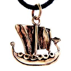 Kiss of Leather Kettenanhänger Wikingerschiff Anhänger Wikinger Viking Schiff Boot Mittelalter Bronze