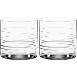 SPIEGELAU Tumbler-Glas Lines, Kristallglas, Dekor graviert, 340 ml, 2-teilig