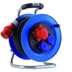 HEDI Kunststoff-Drehstrom-Kabeltrommel ''Professional'' Ø 290 mm - 25 m Kabel - 2-fach 250 V + 5 x 16 A / 400 V - IP44