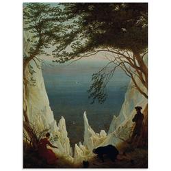 Artland Glasbild Die Kreidefelsen von Rügen. 1818/1819., Felsen (1 Stück) 60 cm x 80 cm x 1,1 cm