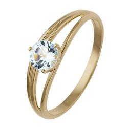 JOBO Fingerring, 585 Gold mit Blautopas 56