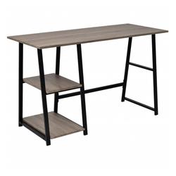 vidaXL Schreibtisch vidaXL Schreibtisch mit 2 Regalen Grau und Eiche