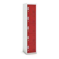 Fünftüriger schrank, zylinderschloss, 1800 x 380 x 450 mm, grau/rot