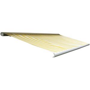 Mendler Elektrische Kassettenmarkise T123, Markise Vollkassette 4,5x3m ~ Polyester Gelb/Weiß