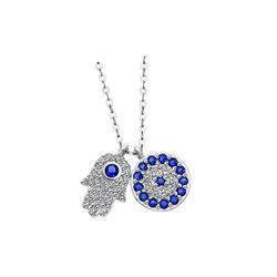 LOTUS SILVER Silberkette JLP1969-1-1 Lotus Silver Fatimas Hand Halskette (Halsketten), Damen Kette Fatimas Hand aus 925 Sterling Silber, silber, weiß, blau