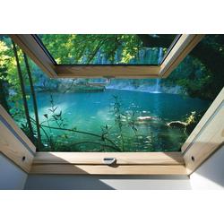Consalnet Fototapete Fensterblick See, glatt, Meer 2,08 m x 1,46 m