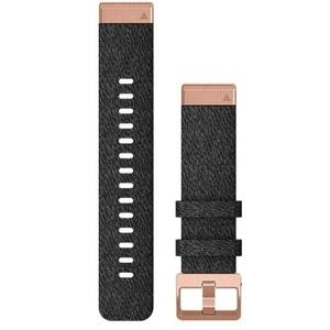 QuickFit 20-Uhrenarmbänder Schwarzmeliertes Nylon mit Teilen in roségold