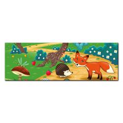 Bilderdepot24 Leinwandbild, Leinwandbild - Kinderbild - Tiere im Wald 160 cm x 50 cm