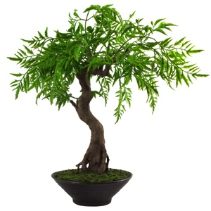 Leaf Künstlicher Bonsai-Baum, gedrehter Ficus Bosai, 45 cm