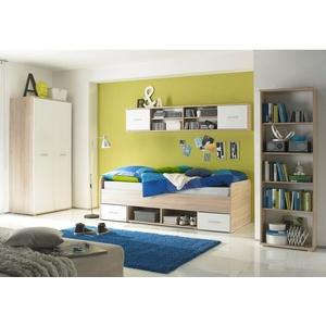 Jugendzimmer Nanu in weiß und Eiche Sonoma 4-teilig Bett Kleiderschrank Regale